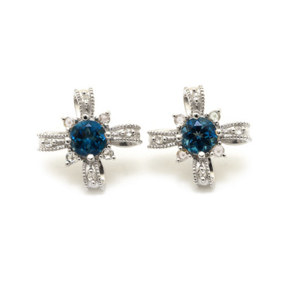 ロンドンブルートパーズ×ローズカットダイヤモンド 「アンティークリボン」ピアス